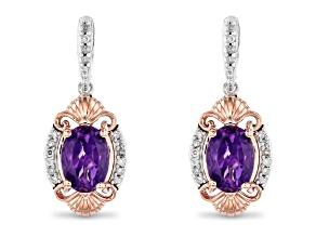 Enchanted Disney Ariel Earrings Amethyst & White Diamond Rhodium & 14k Rose Gold Over Silver 1.68ctw