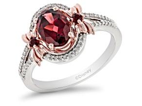Enchanted Disney Snow White Ring Red Garnet & White Diamond Rhodium & 14k Rose Gold Over Silver