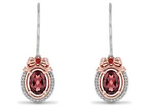 Enchanted Disney Snow White Earrings Red Garnet & White Diamond Rhodium & 14k Rose Gold Over Silver