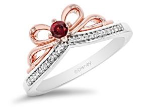 Enchanted Disney Snow White Ring Garnet & White Diamond Rhodium & 14k Rose Gold Over Silver 0.21ctw