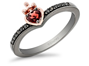 Enchanted Disney Villains Evil Queen Ring Garnet & Diamond Black Rhodium & 14k Rose Gold Over Silver
