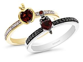 Enchanted Disney Evil Queen & Snow White Ring Set Garnet & Diamond Rhodium & 14k Gold Over Silver