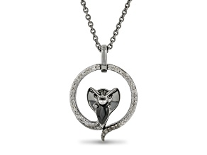 Enchanted Disney Villains Jafar Pendant Black Onyx & White Diamond Black Rhodium Over Silver 0.19ctw