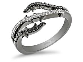 Enchanted Disney Villains Maleficent Ring Black & White Diamond Black Rhodium Over Silver 0.25ctw