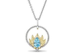 Enchanted Disney Jasmine Pendant Swiss Blue Topaz & Diamond Rhodium & 14k Yellow Gold Over Silver