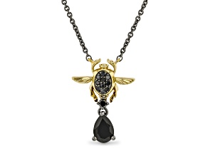 Enchanted Disney Villains Jafar Necklace Onyx & Diamond Black Rhodium & 14k Yellow Gold Over Silver