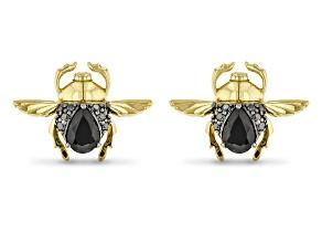 Enchanted Disney Villains Jafar Earrings Black Onyx & Black Diamond 14k Yellow Gold Over Silver
