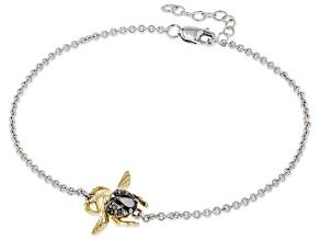 Enchanted Disney Villains Jafar Beetle Bracelet Onyx & Diamond Rhodium & 14k Yellow Gold Over Silver