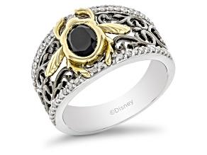 Enchanted Disney Villains Jafar Ring Onyx & Diamond Rhodium & 14k Yellow Gold Over Silver 1.30ctw