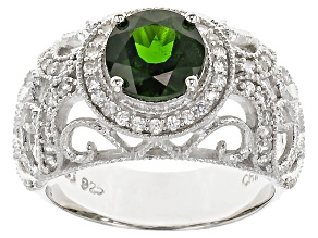 Green Chrome Diopside Sterling Silver Ring. 1.70ctw