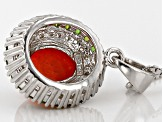 Orange Ethiopian Opal Sterling Silver Pendant With Chain. 1.52ctw