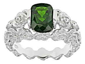 Green Russian Chrome Diopside Sterling Silver Solitaire Ring 1.87ctw