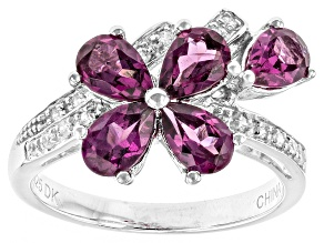 Purple Rhodolite Sterling Silver Ring 2.02ctw