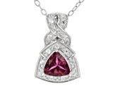 Pink Tourmaline Sterling Silver Pendant With Chain .66ctw