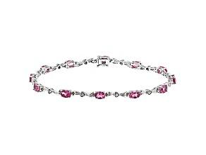 Pink Tourmaline Sterling Silver Bracelet 4.17ctw