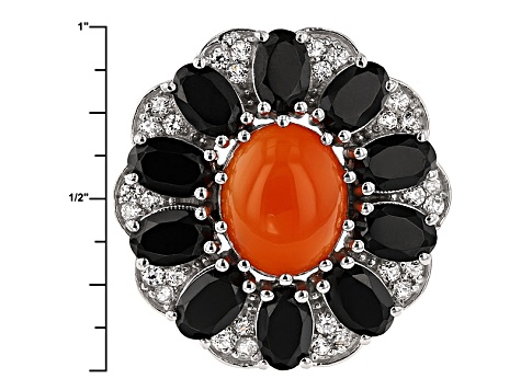 Orange Carnelian Sterling Silver Ring. 6.11ctw