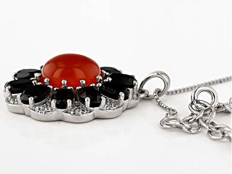 Orange Carnelian Sterling Silver Pendant With Chain. 6.11ctw