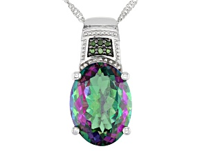 Multi Color Mystic Topaz® Rhodium Over Sterling Silver Pendant With Chain 10.06ctw