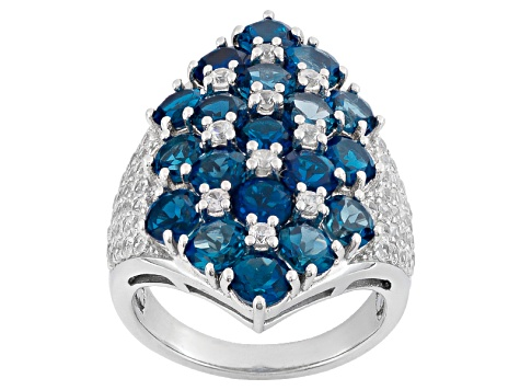 London Blue Topaz Sterling Silver Ring. 6.38ctw