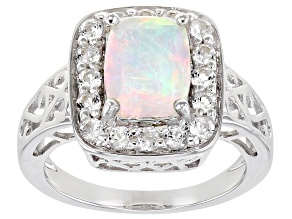 Ethiopian Opal Rhodium Over Sterling Silver Ring 2.06ctw