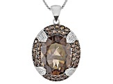 Brown Smoky Quartz Sterling Silver Pendant With Chain. 9.47ctw