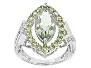 Green Prasiolite Sterling Silver Ring. 3.26ctw