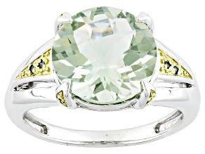 Green Brazilian Prasiolite And Green Diamond Sterling Silver Ring 3.94ctw
