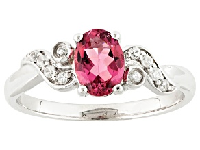 Pink Tourmaline And White Zircon Sterling Silver Ring.68ctw