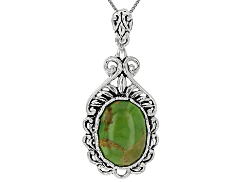 Green Turquoise Sterling Silver Pendant With Chain.