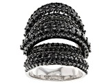 Black Spinel Sterling Silver Ring 5.02ctw