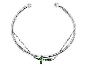 Green Chrome Diopside Silver Cross Bracelet .44ctw