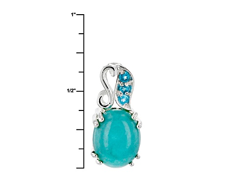 Blue Turquoise Sterling Silver Pendant With Chain .04ctw