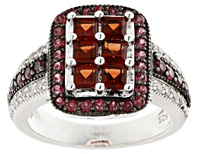 Red Garnet Sterling Silver Ring. 2.07ctw