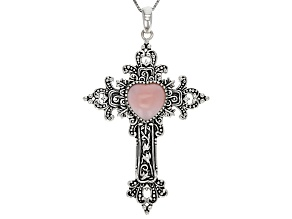 Pink Peruvian Opal Sterling Silver Pendant With Chain.