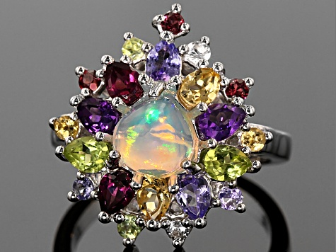 Multicolor Heart Shape Ethiopian Opal Sterling Silver Ring 3.11ctw