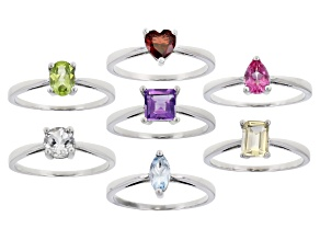 5.24ctw Multiple Shapes And Multiple Stone Rhodium Over Sterling Silver Set Of 7 Rings