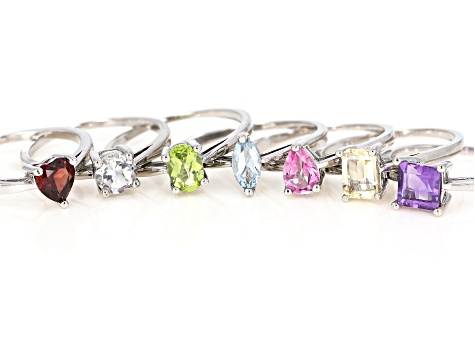 5.24ctw Multiple Shapes And Multiple Stone Sterling Silver Set Of 7 Rings