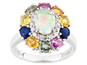 Ethiopian Opal Sterling Silver Ring 2.91ctw