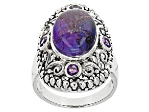 Purple Turquoise And Amethyst Sterling Silver Ring .34ctw
