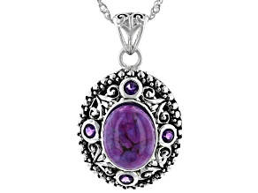 Purple Turquoise And Amethyst Sterling Silver Pendant With Chain .34ctw