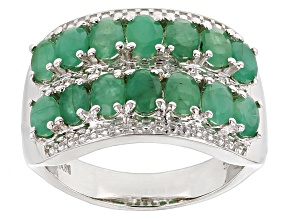 Green Emerald Sterling Silver Ring 2.38ctw