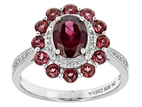 Raspberry Color Rhodolite Sterling Silver Ring 2.49ctw