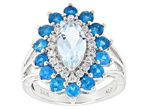 Sky Blue Topaz Sterling Silver Ring 2.59ctw