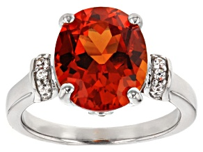 Orange Lab Padparadscha Sapphire Sterling Silver Ring. 5.81ctw
