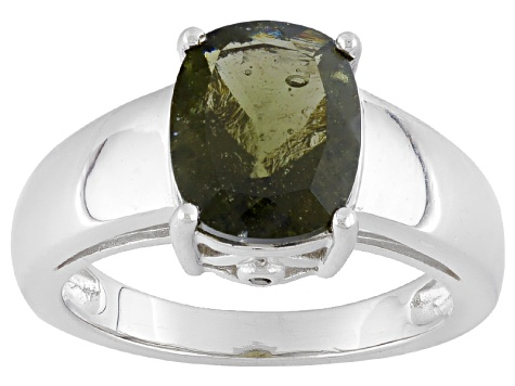 Green Moldavite Sterling Silver Ring 1.81ctw