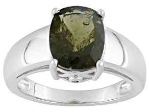 Green Moldavite Sterling Silver Ring 1.81ctw