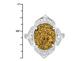 Golden Color Drusy Quartz Sterling Silver Ring .15ctw