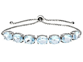 Sky Blue Topaz Rhodium Over Sterling Silver Sliding Adjustable Bracelet 12.60ctw