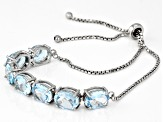Sky Blue Topaz Sterling Silver Sliding Adjustable Bracelet 12.60ctw