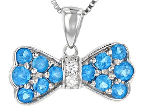 Blue Neon Apatite Sterling Silver Bow Pendant With Chain. 1.06ctw